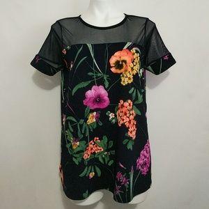 ASOS Maternity Floral Mesh Short Sleeve Top US 6